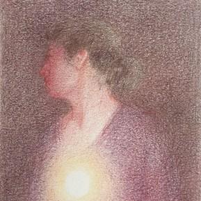Intuitie, kleurpotlood op papier, 12x10 cm, 2020 [verkocht]