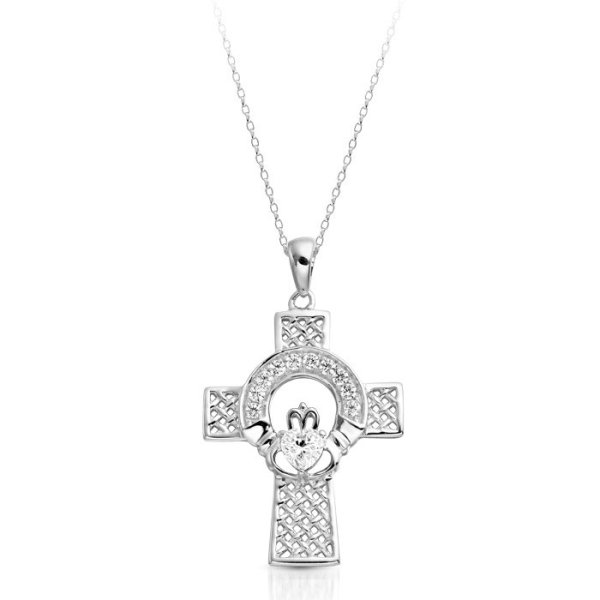 White Gold Claddagh Cross-C126WCL