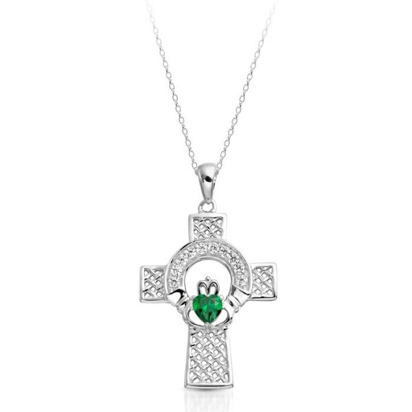 White Gold Claddagh Cross-C126WGCL