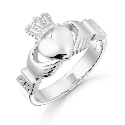 9ct White Gold Unisex Claddagh Ring. Made in Ireland. Sturdy Gold and Ideal for both Men and Women - 135AW