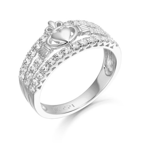 9ct White Gold Claddagh Ring - CL31WCL