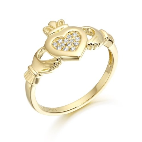 9K Gold CZ Claddagh Ring with Micro Pave Stone Setting - CL33CL