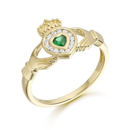 9ct Gold CZ Emerald Claddagh Ring - CL38CL