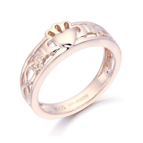 9ct Rose Gold Claddagh Ring with Celtic Knot Design.
