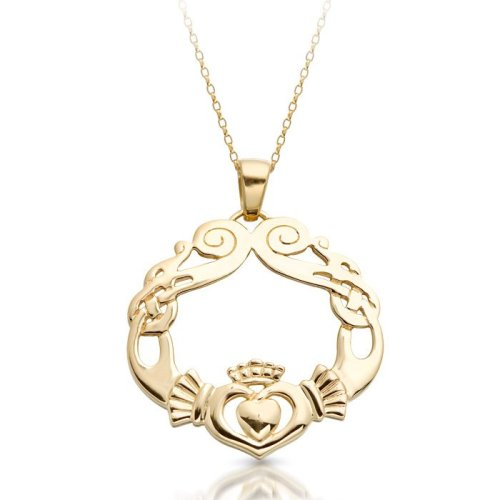 Claddagh Pendant with Celtic Knot and swirl.