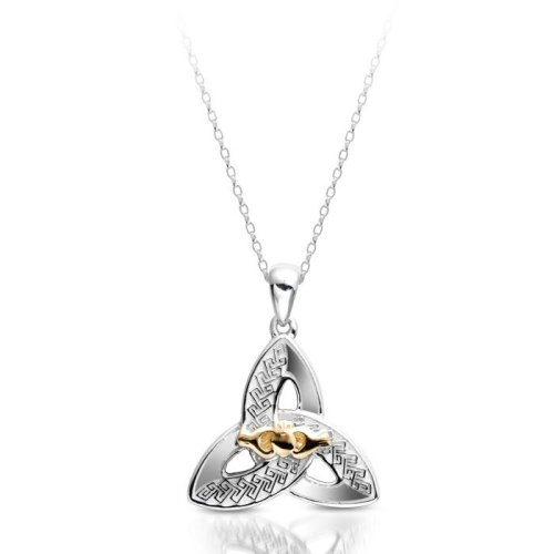 White Gold Claddagh Pendant with Trinity Knot Celtic design.