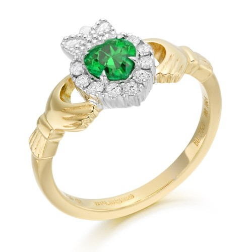 Emerald and Diamond Claddagh Ring - CLDIA5CL