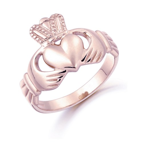 Rose Gold Claddagh Gents Ring -CL7RCL