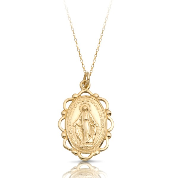 9K Gold Miraculous Medal-MM18CL