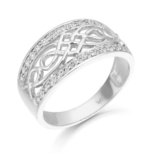 Silver CZ Celtic Ring-S3238CL