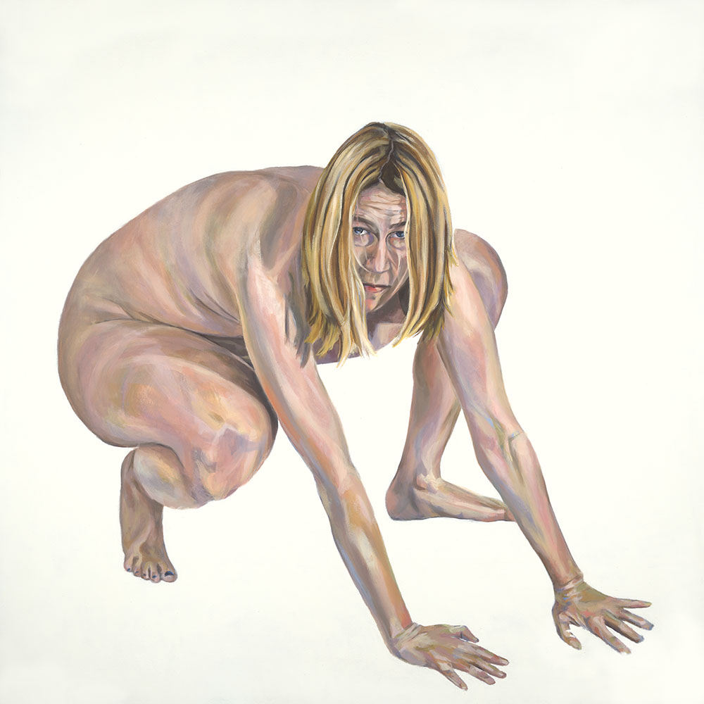 Wolf, self-portrait oil painting