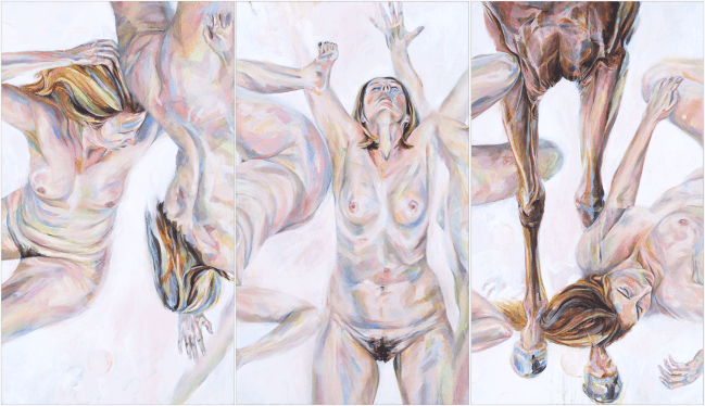 Oil painting on 3 panels, by Claire Brandt, titled