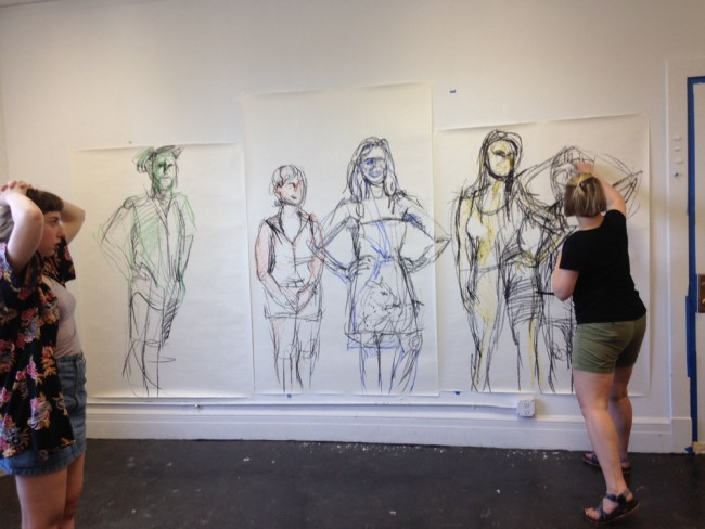 Claire Brandt drawing 5th model at open studios