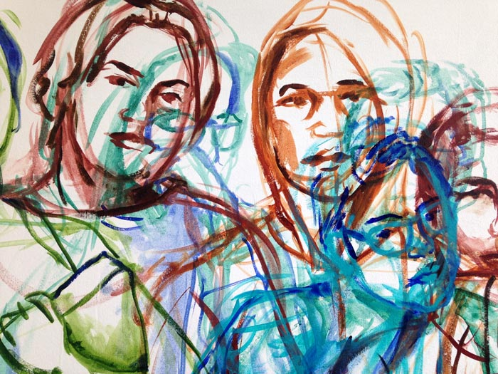 detail of nearly finished drawing, faces