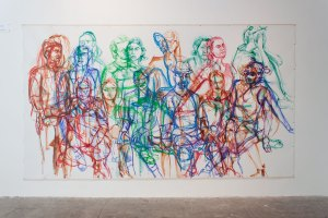 The complete work, after 3 days of drawing volunteer models at SOIL Gallery, August 4 – 7, 2016.