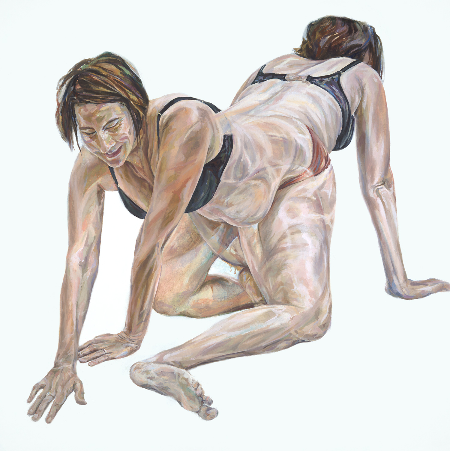 Oil painting of 2 overlapping figures of nude pregnant woman