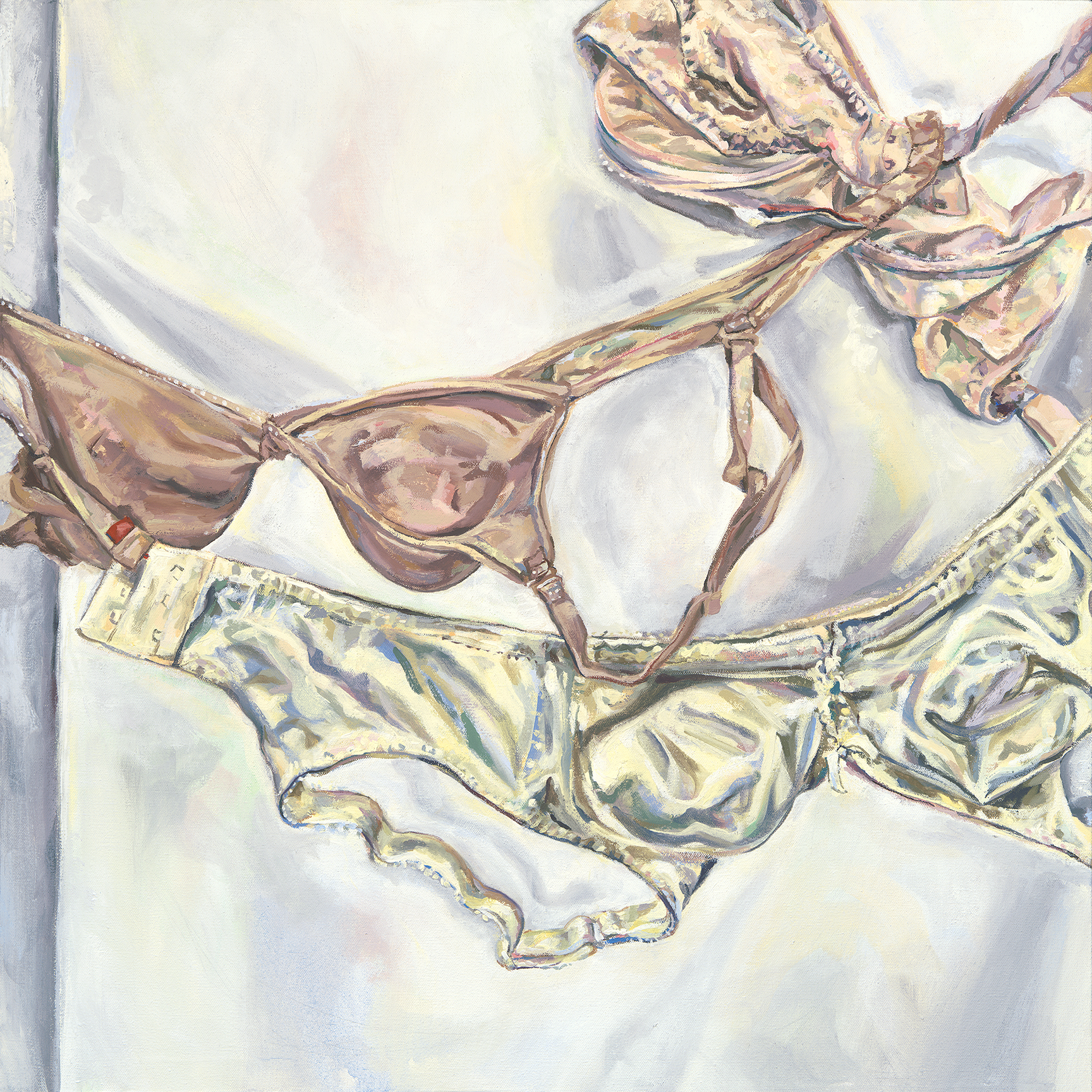 Matrilineal, painting of three bras by Claire Brandt