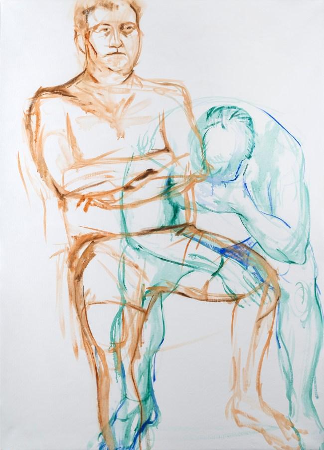 oil paint study of man, 2 figures