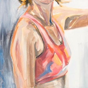 oil painting of self wearing pink sports bra, after MRI biopsies.