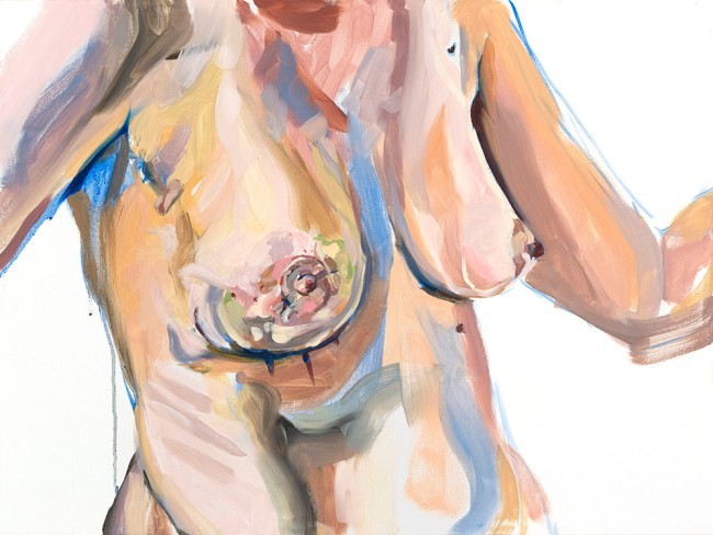 Oil painting of my breasts and torso a week or so after surgery, pen marks still visible under breast.