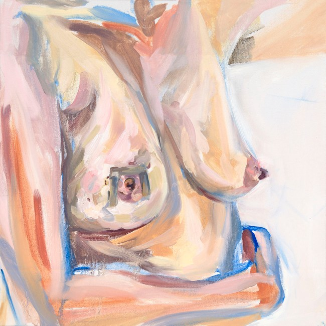 oil painting of breasts and torso after second surgery. Left arm wrapped around waist.