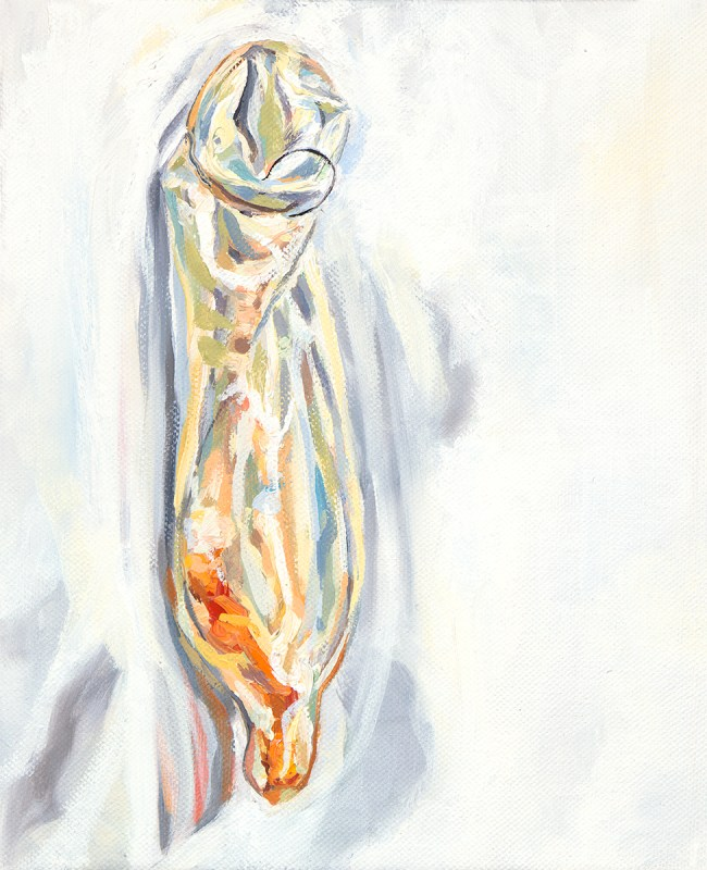 small oil painting of condom hanging on wall containing cheeto and having pubic hair hanging off the open end.