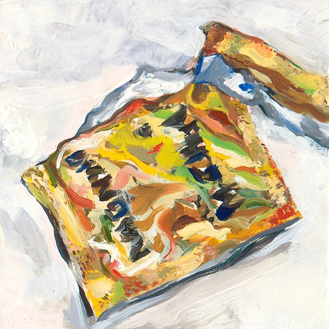 small oil painting of opened, gold colored condom package