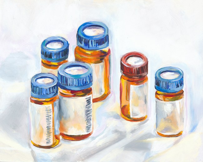 oil painting of prescription pill bottles