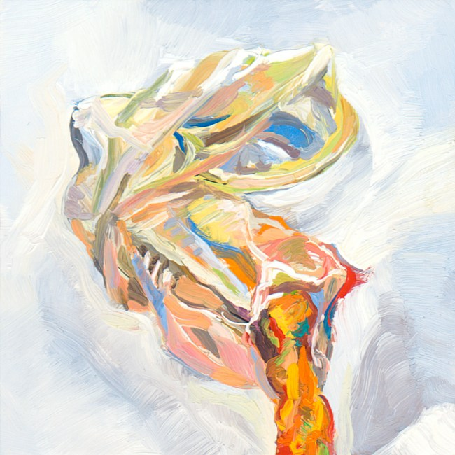 small oil painting of crumpled condom, broken at end with cheeto protruding from it
