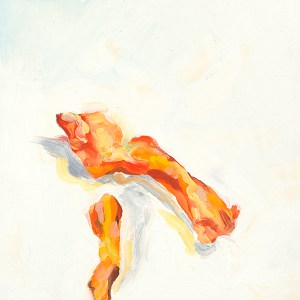 small oil painting of two cheetos representing penises