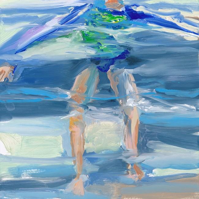 painting of self swimming in ocean