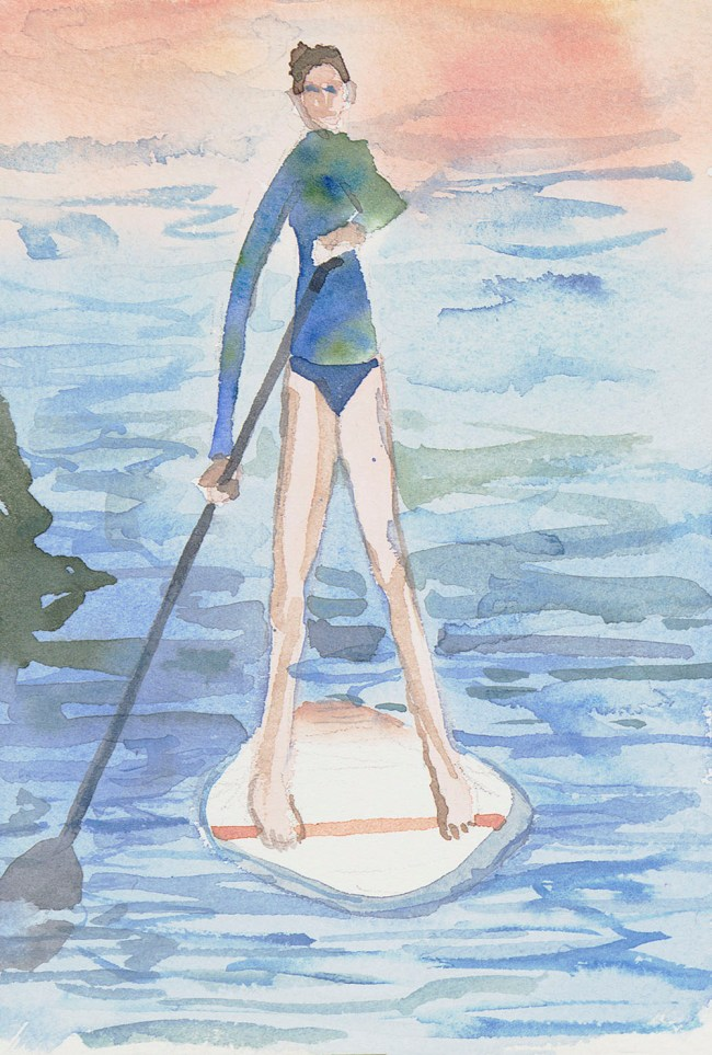 watercolor of woman doing Stand Up Paddling on Danube River