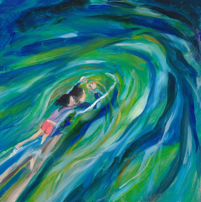 Painting of woman swimming with child on her back in night pool