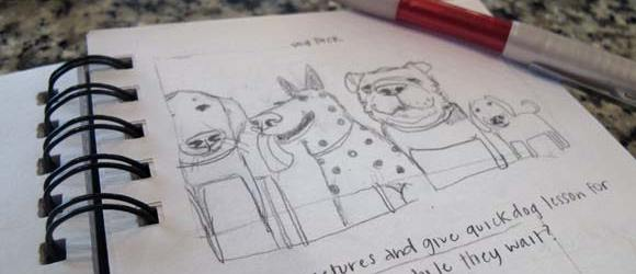 Trinity School Dog Pack Sketch | Claire Dunaway Studios
