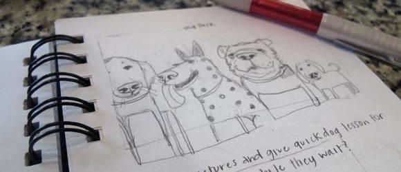Trinity School Dog Pack Sketch | Claire Dunaway Studios