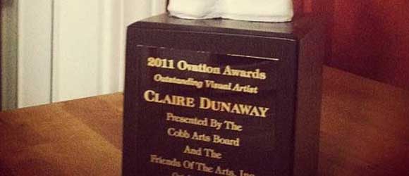 Cobb County Ovation Awards trophy closeup