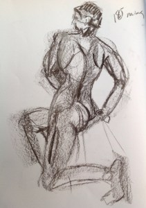 An image of a charcoal drawing of a man on a stool