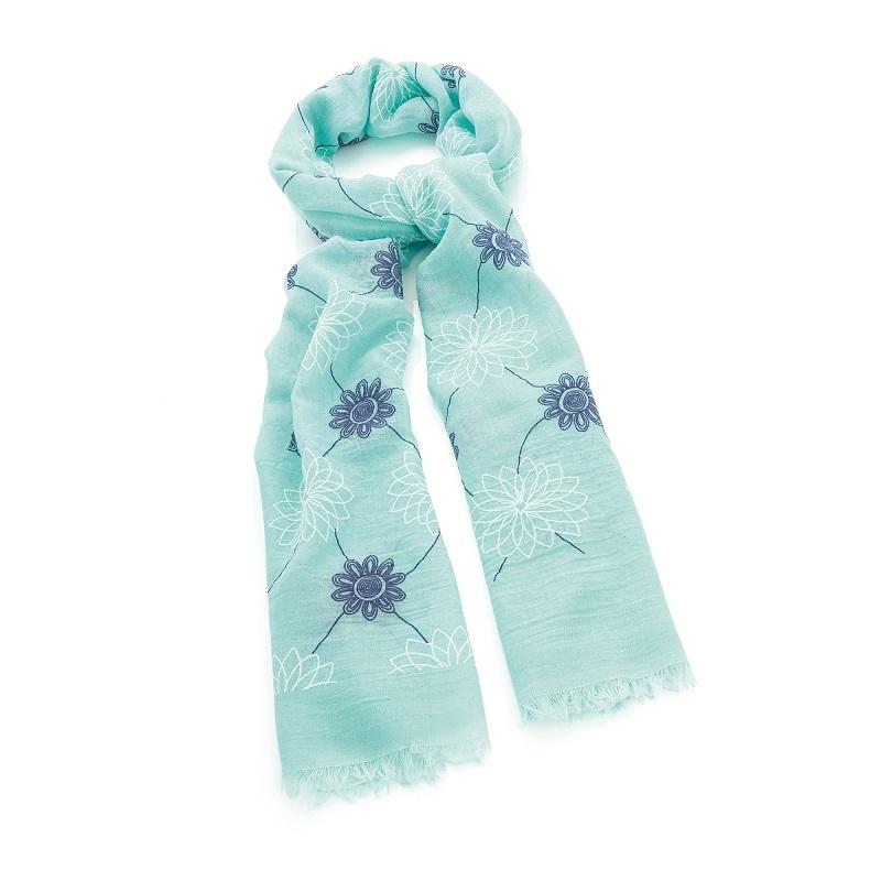 Aqua blue flower print gold glitter scarf