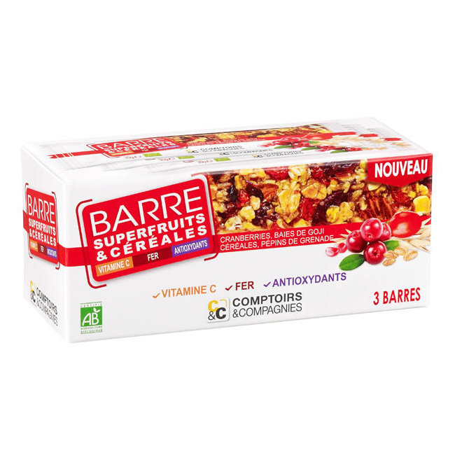 Barre de céréales Superfruits bio - Goji, cranberries - Boîte de 3 barres