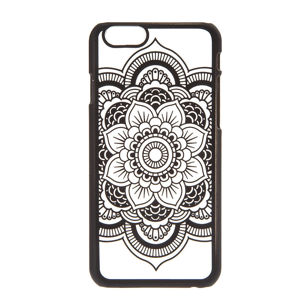 Frosted Black Mandala Phone Case Claires US