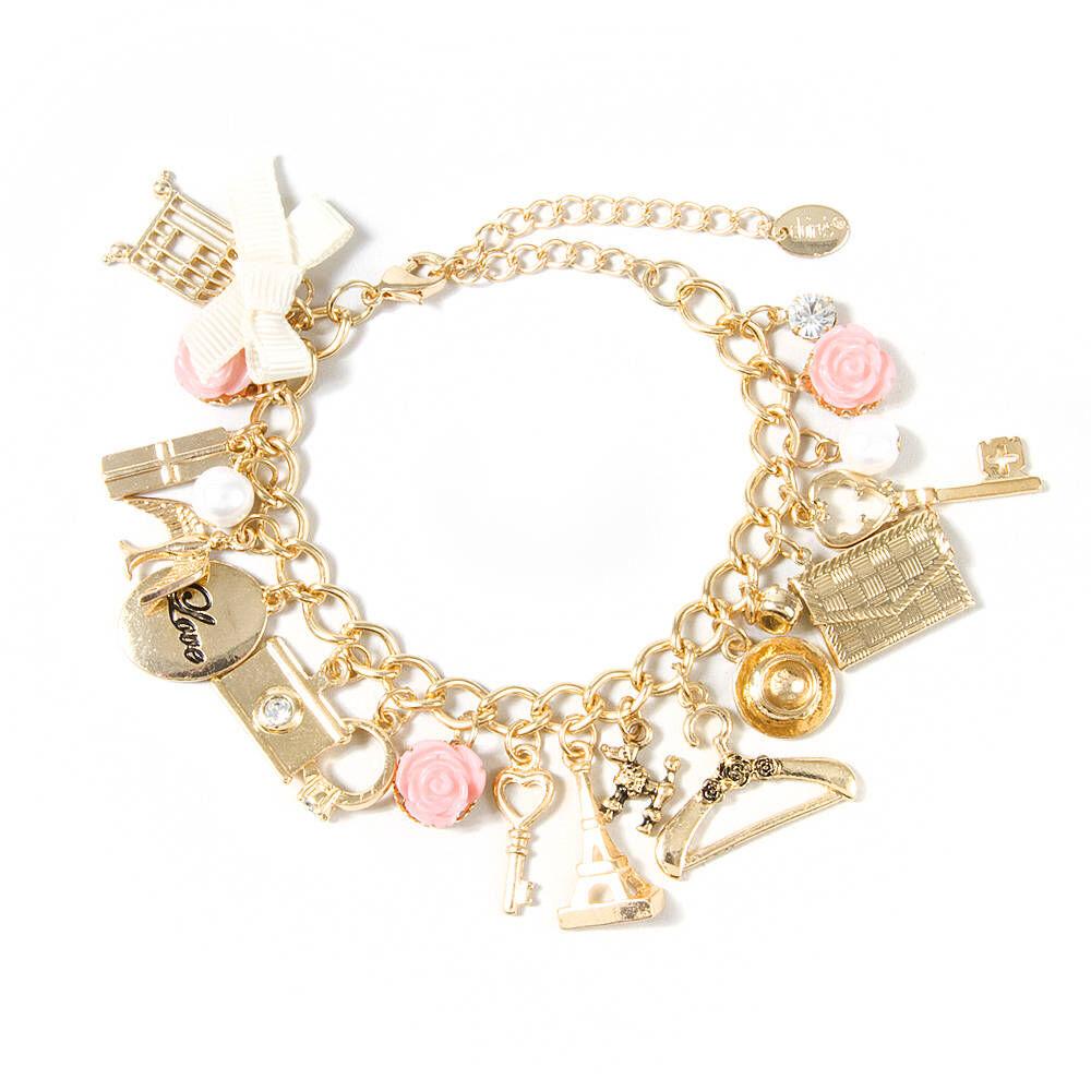 Paris Inspired Gold Charm Bracelet Claires US