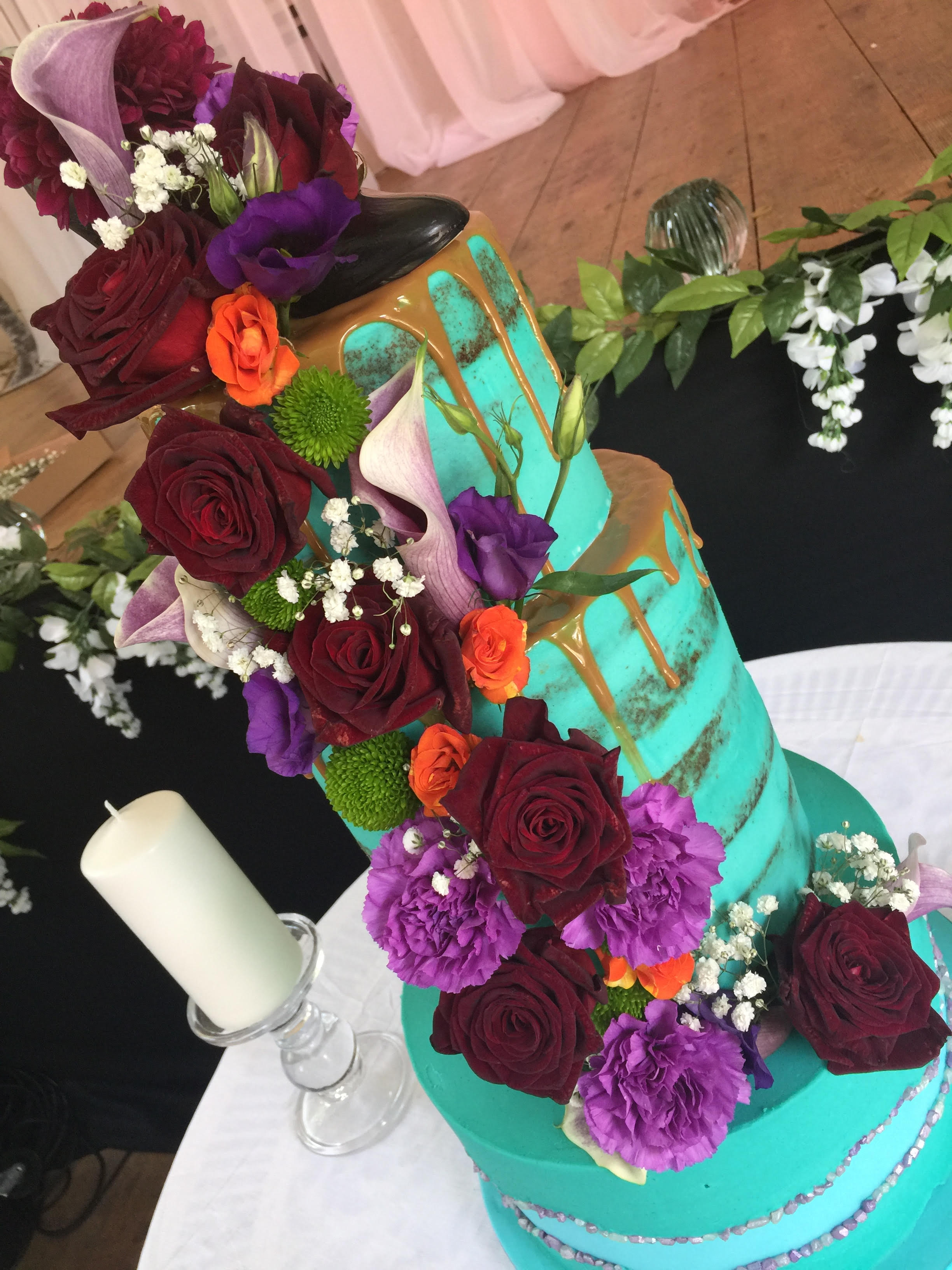 wedding cake with bright colours cake
