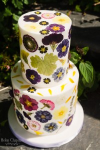 pressed flower elopement cake