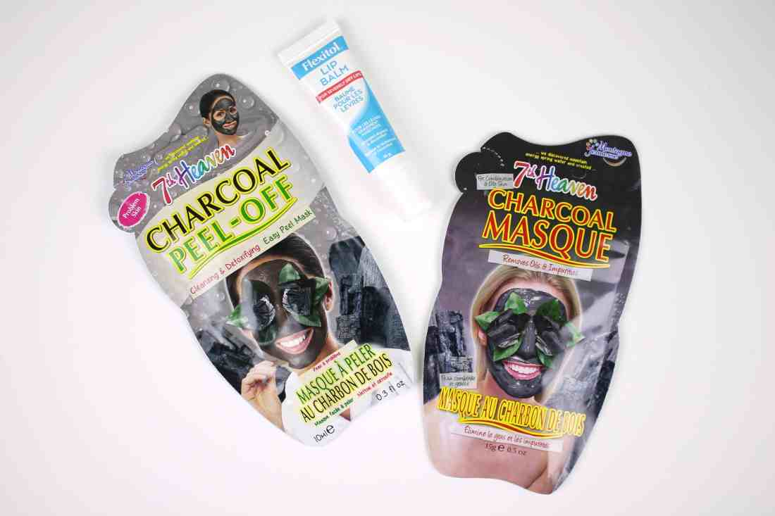 flexitol lip balm and 7th heaven charcoal mask