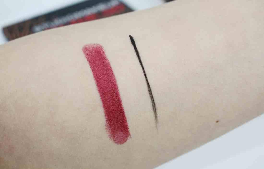studio makeup Lash maximizer long wear gel eyeliner and velour lipstick swatch