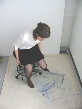 """""""Freewheeler"""" Performance. Felt tip pen on canvas"""