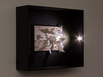 """Right"" Cut out photographs, pins, board, LED, display box. 42x35cm £300 Photographer: Angela Wilkinson"