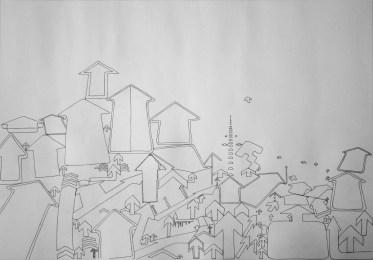 """""""Up"""" Pen on paper. 50x35cm £150"""