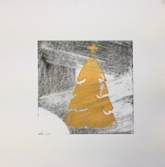 Christmas 2017, Gold screenprint on drypoint, 20x20cm, unique, £3
