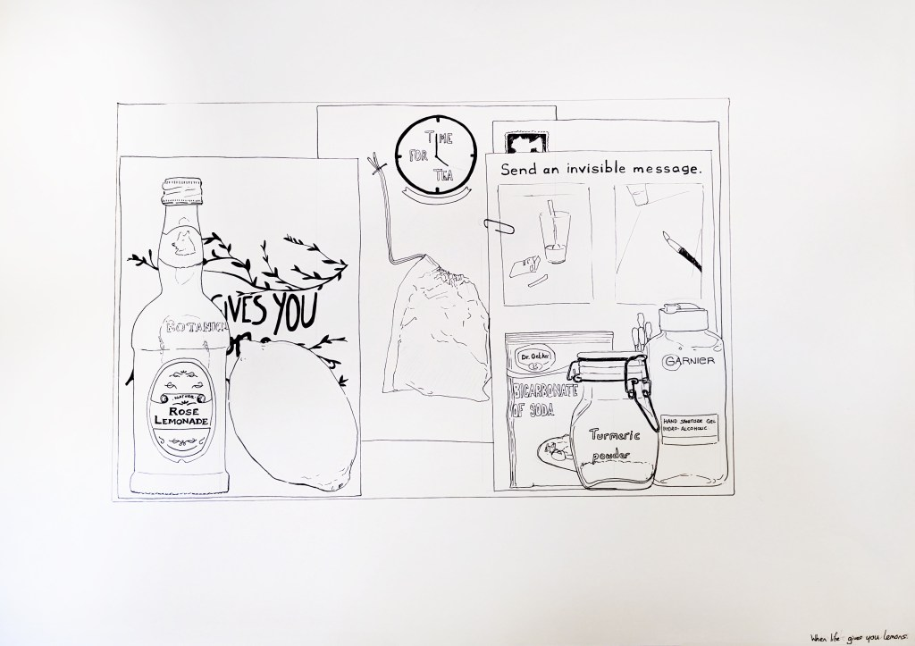 A pen on paper illustration of objects including a bottle of rose lemonade, a lemon, a tea bag, card which says 'send an invisible message' sachet of bicarbonate of soda, jar of turmeric powder and bottle of hand sanitiser.